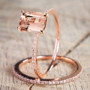 Rose gold Morganite slim ring set